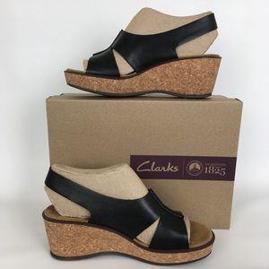 Clarks Wedge Sandals Black Size 8